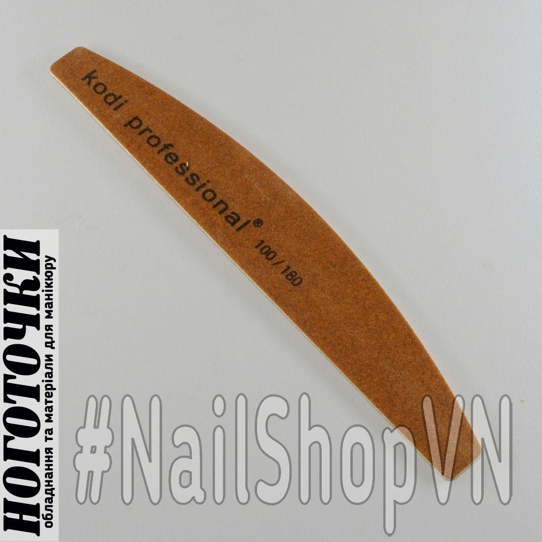Пилка Kodi Professional лодочка коричневая 100+180 Grit