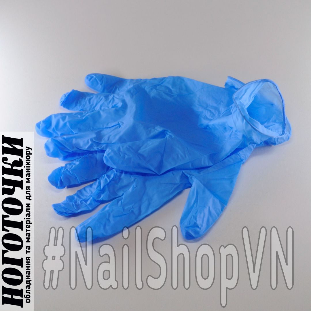 Перчатки нитриловые неопудренные синие 2 штуки