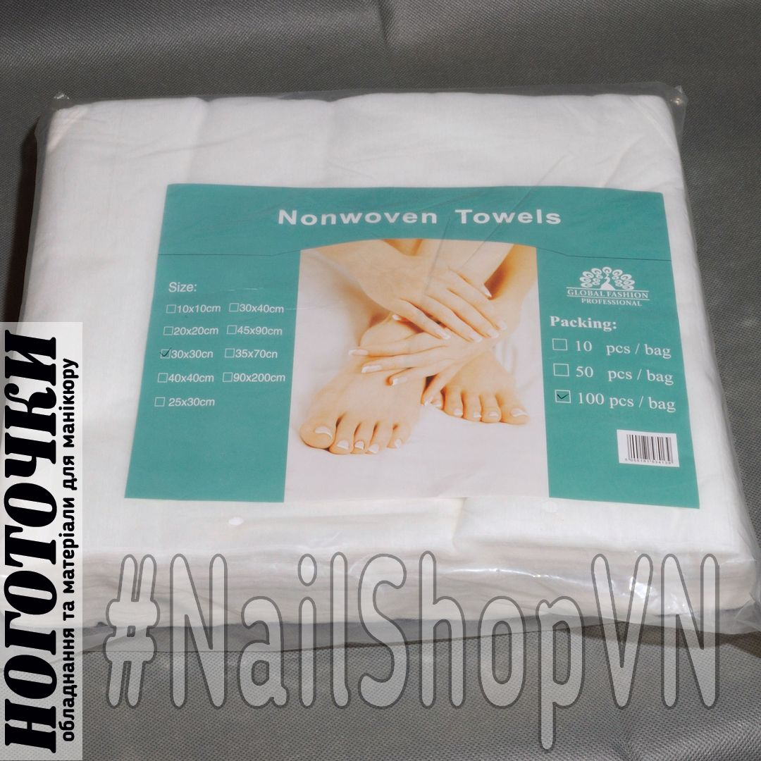 Салфетки Global Fashion Nonwoven Towels 30х30см 100шт